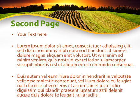 Arable Land At Sunset PowerPoint Template, Slide 2, 09774, Agriculture — PoweredTemplate.com