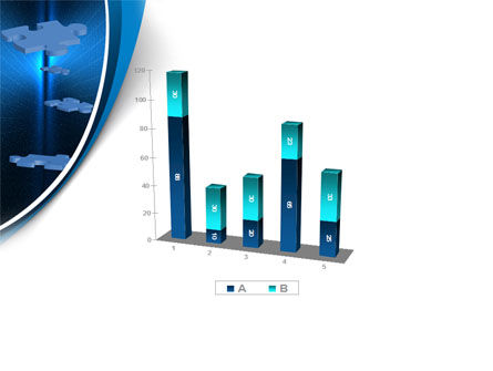 Blue Puzzles Flying In Space PowerPoint Template Slide 17
