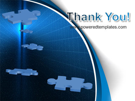 Blue Puzzles Flying In Space PowerPoint Template Slide 20