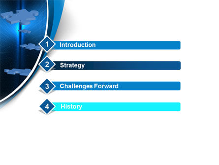 Blue Puzzles Flying In Space PowerPoint Template Slide 3