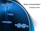 Business Concepts: Blue Puzzles Flying In Space PowerPoint Template #09781