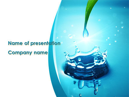 Nature & Environment: Dew Drops Falling With Splash PowerPoint Template #09784