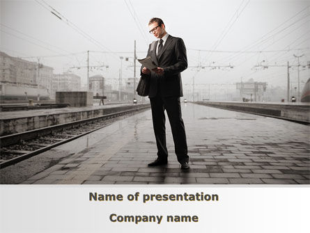 Man On Platform PowerPoint Template, 09786, Cars and Transportation — PoweredTemplate.com