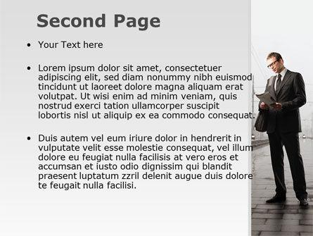 Man On Platform PowerPoint Template Slide 2