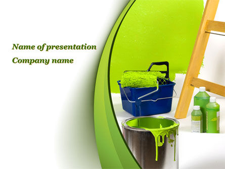 Careers/Industry: Green Paint Cun PowerPoint Template #09802