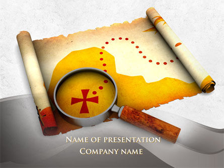 Treasure Map With Tracks PowerPoint Template, 09819, Holiday/Special Occasion — PoweredTemplate.com
