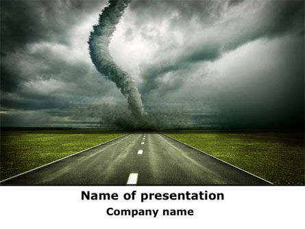 tornado on the road powerpoint template, backgrounds | 09821, Modern powerpoint