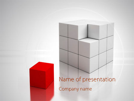 Business Concepts: Red Part Of White Cube PowerPoint Template #09830