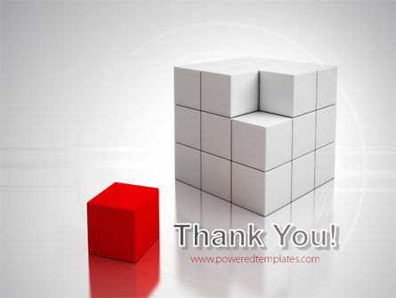 Red Part Of White Cube PowerPoint Template Slide 20