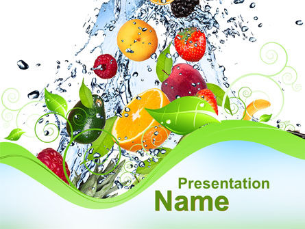 Summer Fruits PowerPoint Template, 09836, Food U0026 Beverage U2014  PoweredTemplate.com