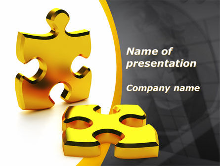 Financial/Accounting: Golden Parts Of Puzzle PowerPoint Template #09841