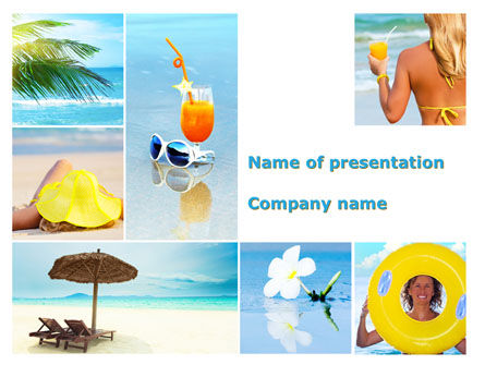 Beach Resort Collage PowerPoint Template, 09842, Health and Recreation — PoweredTemplate.com
