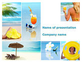 Health and Recreation: Beach Resort Collage PowerPoint Template #09842