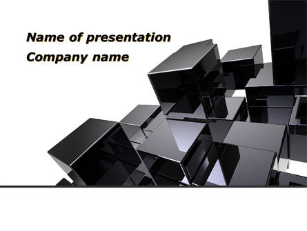 Black Polished Stone Cubes PowerPoint Template
