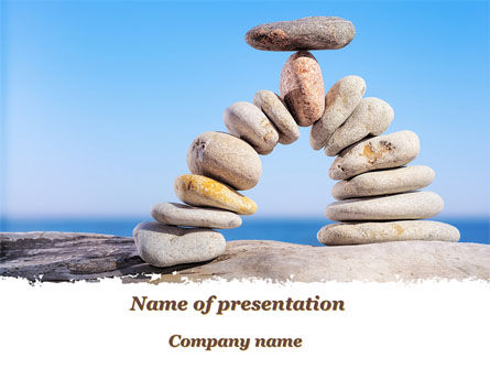 Nature & Environment: Stone Arch On The Beach PowerPoint Template #09855
