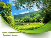 Nature & Environment: Meadow On The River PowerPoint Template #09863