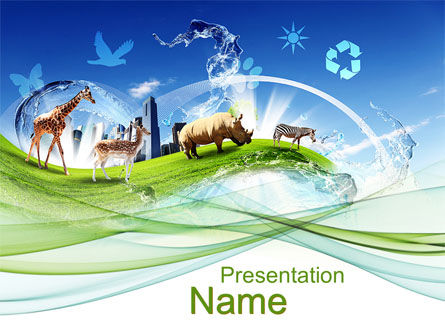 Ecological Balance Between Various Types Of Life PowerPoint Template