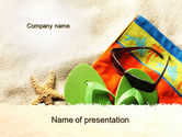Health and Recreation: Slippers On The Sand PowerPoint Template #09867