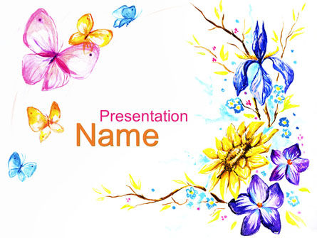 Art & Entertainment: Butterfly Frame PowerPoint Template #09873