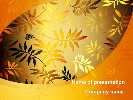 Golden Orange Vegetative PowerPoint Template, 09879, Nature & Environment — PoweredTemplate.com
