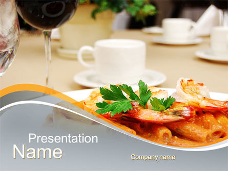 Food & Beverage: Pasta With Shrimps PowerPoint Template #09898