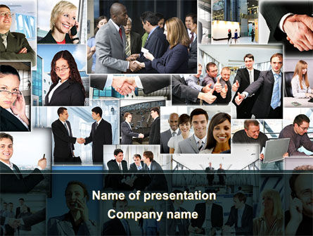 Business Theme Collage PowerPoint Template, 09901, People — PoweredTemplate.com
