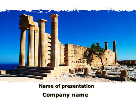 Ruins Of Ancient Greek Temple PowerPoint Template