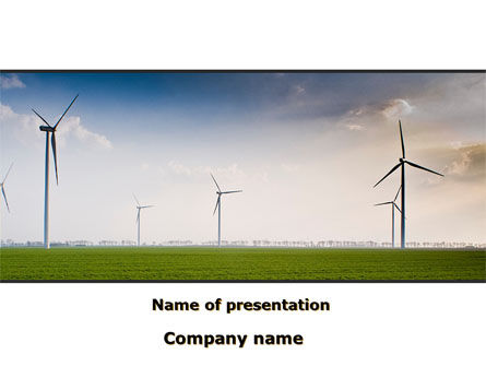Careers/Industry: Wind Energy Windmills On Field PowerPoint Template #09914