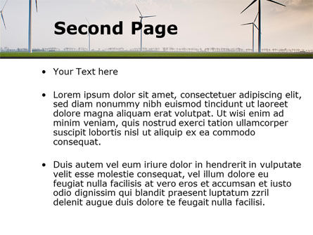 Wind Energy Windmills On Field PowerPoint Template Slide 2