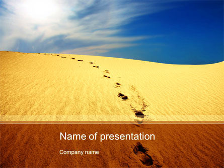 Traces In The Sand PowerPoint Template, 09924, Religious/Spiritual — PoweredTemplate.com