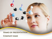 Technology and Science: Girl With Molecular Model PowerPoint Template #09931