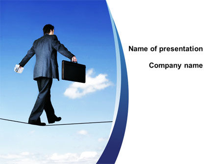 Business: Risky Business On A Thin Rope PowerPoint Template #09932
