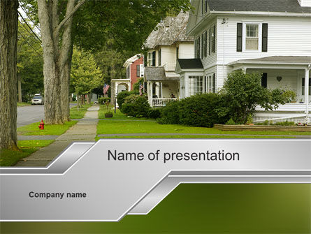Suburban Lane PowerPoint Template, 09937, Construction — PoweredTemplate.com