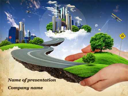 Road To The Beautiful City PowerPoint Template, 09939, Careers/Industry — PoweredTemplate.com