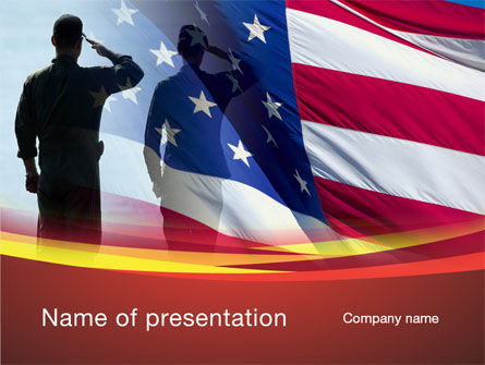 Saluting Flag Of The United States PowerPoint Template, 09948, America — PoweredTemplate.com