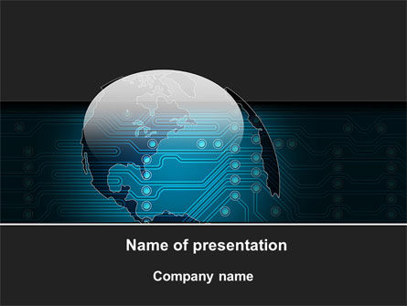 Technology and Science: Electronic Earth PowerPoint Template #09949