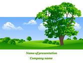 Nature & Environment: 夏の牧草地に孤独な木 - PowerPointテンプレート #09953