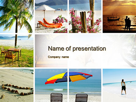 Beach Fun PowerPoint Template, 09954, Health and Recreation — PoweredTemplate.com