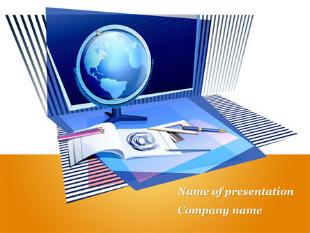 Distant Education Via Internet PowerPoint Template, 09967, Education & Training — PoweredTemplate.com