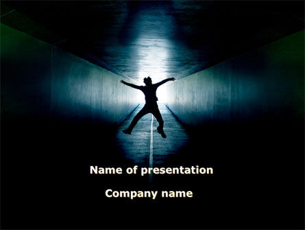 Jumping Silhouette In The Tunnel PowerPoint Template, 09977, People — PoweredTemplate.com