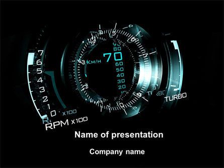 Cars and Transportation: Digital Futuristic Speedometer PowerPoint Template #09980