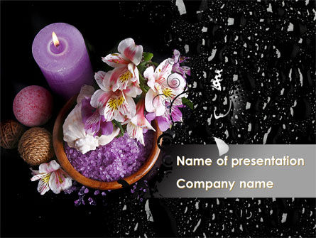 Violet Bath Salt PowerPoint Template, 09987, Health and Recreation — PoweredTemplate.com
