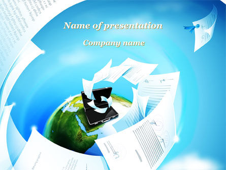Flying Papers PowerPoint Template, 09989, Business — PoweredTemplate.com