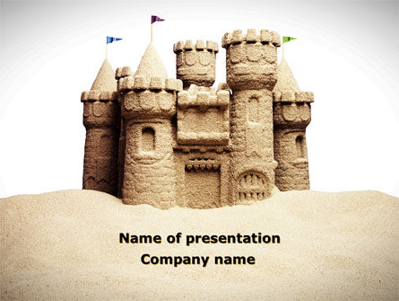Construction: Sand Castle PowerPoint Template #09998