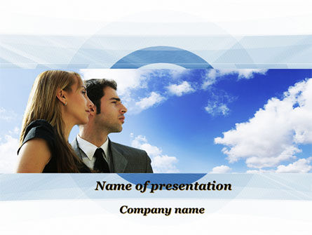 People: Young Couple Looking To The Future PowerPoint Template #10004