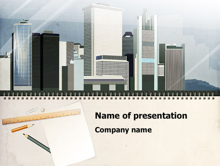 Architectural Plan Of Urban District PowerPoint Template