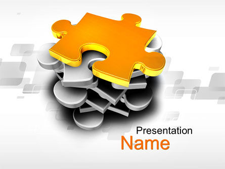 Business Concepts: Golden Puzzle PowerPoint Template #10008