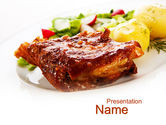 Food & Beverage: Pork Ribs with Potatoes PowerPoint Template #10010