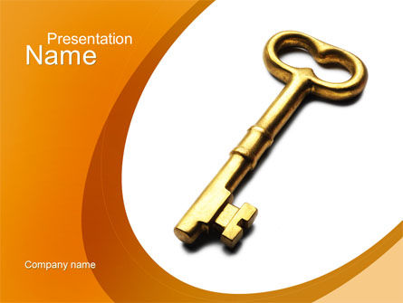 Golden Key PowerPoint Template, 10012, Consulting — PoweredTemplate.com