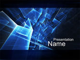 Abstract/Textures: Blue Cubes In Abstract Hole PowerPoint Template #10015